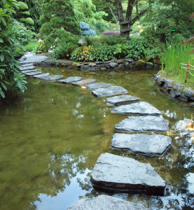 Stepping stones form walking path over the pond at night